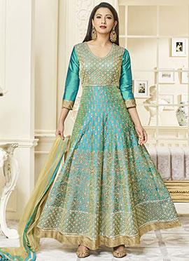Gauhar Khan Turquoise Green Abaya Style Anarkali Suit