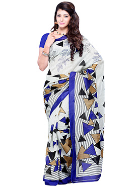 Geometric Patterned Art Silk Off White Saree