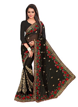 Georgette Black Foliage Designed Embroidered Saree