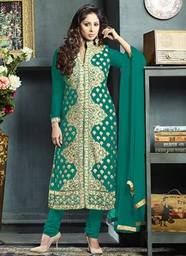 Georgette Embroidered Center Slit Straight Suit