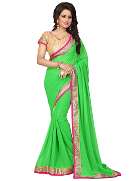 Georgette Green Border Saree