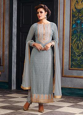 Georgette Grey Pakistani Suit