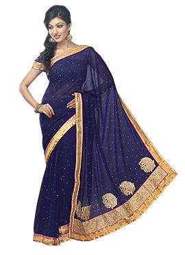 Georgette Navy Blue Embellished Saree