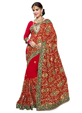 Georgette Red Embroidered Saree