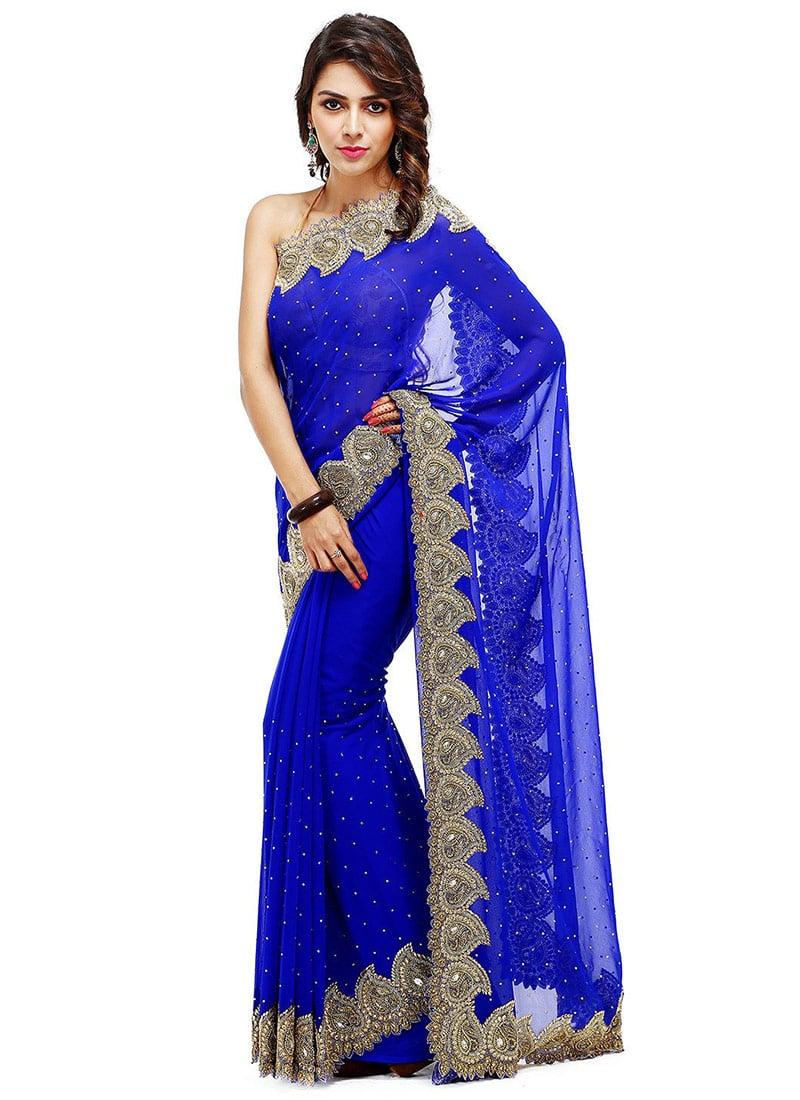 Georgette Royal Blue Crystals Embellished Saree