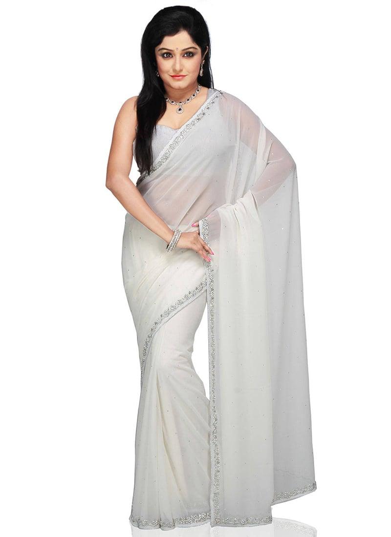 b40b3de9bd Buy Georgette White Saree, Embroidered , Crystals, sari Online ...