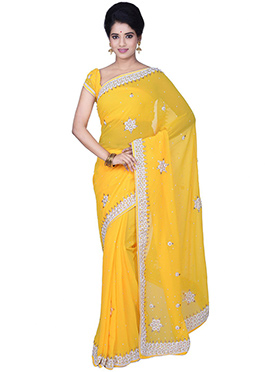 Georgette Yellow Crystals Embellished Saree