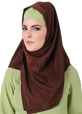 Ghusoon Brown Crepe Hijab