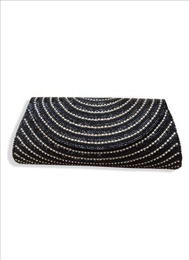 Gleaming Black Beaded Art Dupion Silk Clutch