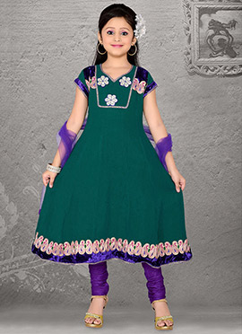 Gleaming Teal Georgette Teens Anarkali Suit