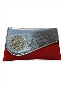 Glitzy Red Art Dupion Silk Clutch