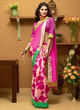 Glowing Off White N Pink Half N Half Saree