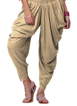 Go Colors Beige Viscose Dhoti Pant