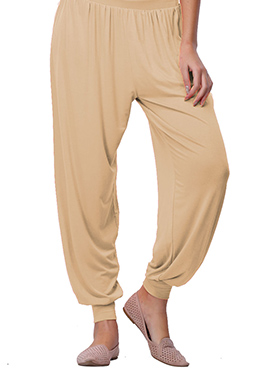 Go Colors Beige Viscose Harem Pant