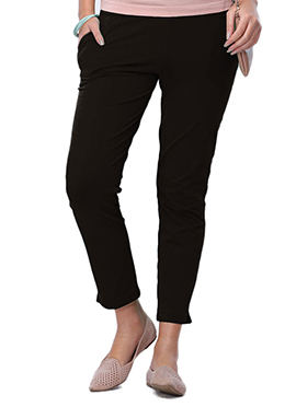 Go Colors Black Cotton Straight Pant
