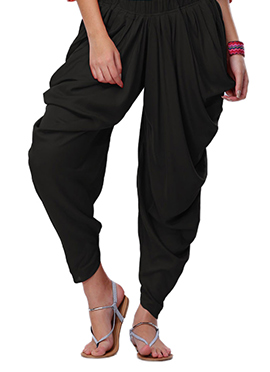 Go Colors Black Viscose Dhoti Pant