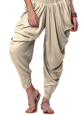 Go Colors Cream Viscose Dhoti Pant