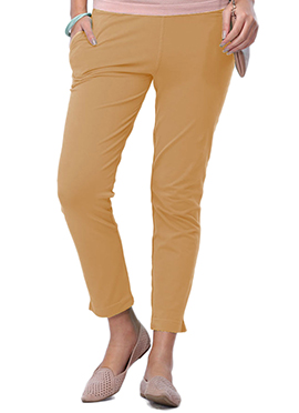 Go Colors Light Brown Cotton Straight Pant