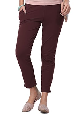 Go Colors Maroon Cotton Straight Pant