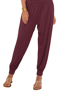 Go Colors Maroon Viscose Harem Pant