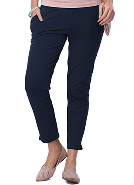 Go Colors Navy Blue Cotton Straight Pant