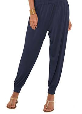 Go Colors Navy Blue Viscose Harem Pant