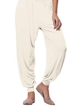 Go Colors Off White Viscose Harem Pant