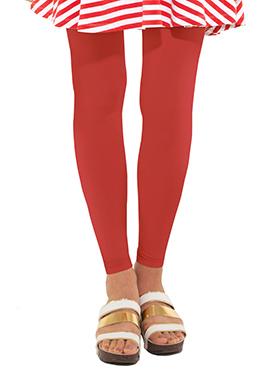 Go Colors Red Cotton Leggings