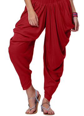 Go Colors Red Viscose Dhoti Pant
