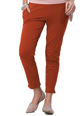 Go Colors Rust Cotton Straight Pant