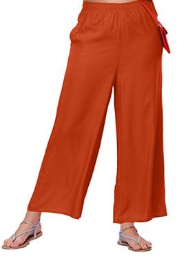 Go Colors Rusty Orange Viscose Palazzo Pant