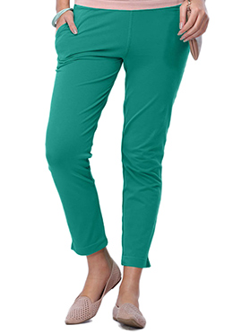 Go Colors Teal Green Cotton Straight Pant