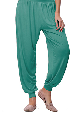 Go Colors Teal Green Viscose Harem Pant