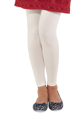 Go Colors White Cotton Leggings