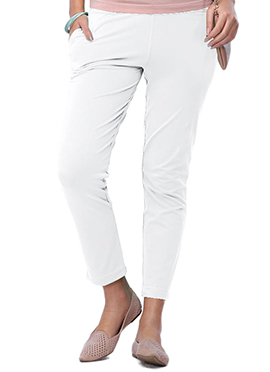 Go Colors White Cotton Straight Pant