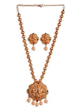 Goddess Lakshmi Design Golden Necklace Set