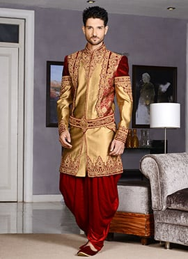 Gold And Maroon Art Silk Indo Western Sherwani