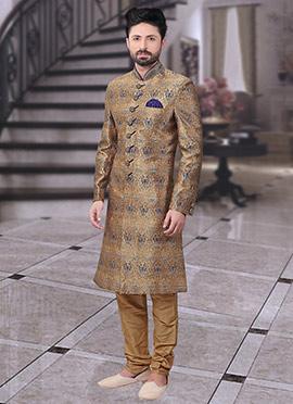 Gold Art Benarasi Silk Achkan Sherwani