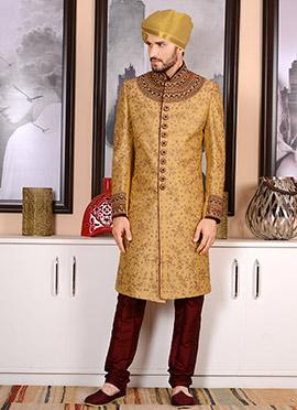 Gold Benarasi Silk Achkan Sherwani