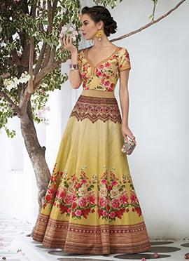 gold art silk anarkali gown - Gold Color Dress