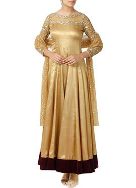 Gold Art Silk Anarkali Suit