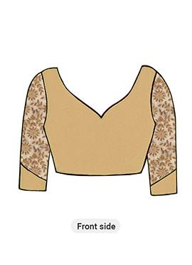 Gold Art Silk Blouse with Gold Net Sleeve