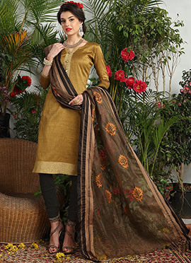 Gold Art Silk Churidar Suit