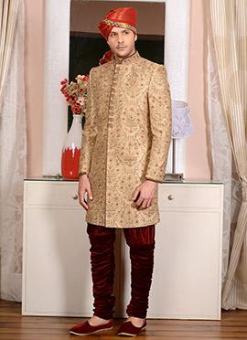 Gold Art Silk Indo Western Sherwani