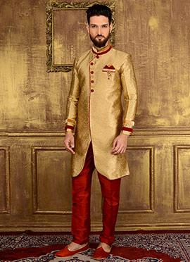 Gold Art Silk Indowestern Sherwani