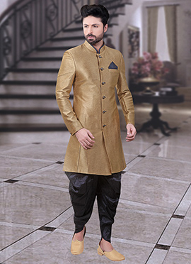 Gold Art Silk Indowestern Sherwani