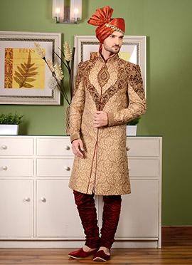 Gold Breeches Style Indo Western Sherwani