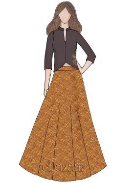 Gold Brocade Indowestern Skirt Set