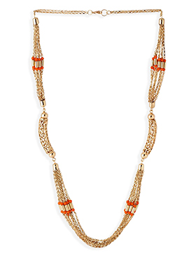 Gold Chain N Orange Beads Necklace