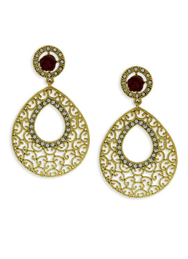 Gold Color And Maroon Floral Studded Danglers
